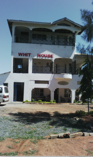 """White House"" and Sculpture of Barack Obama, Mama Sara Obama and Raila Odinga—Kogelo Village Resort, Copyright of the author"